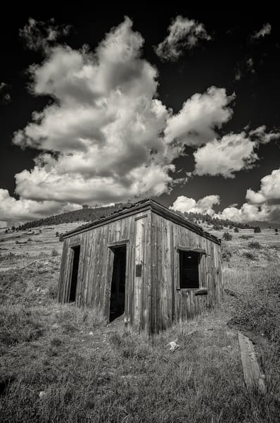 B&W Photograph Abandoned Gold Mine Shack in Victor Colorado