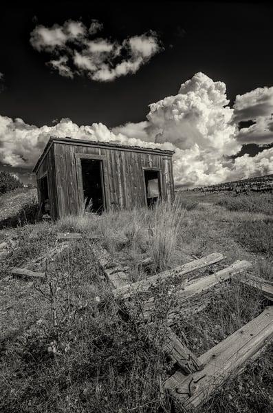 Black & White Photo Old Abandoned Cedar Gold Mine Shack Victor Colorado