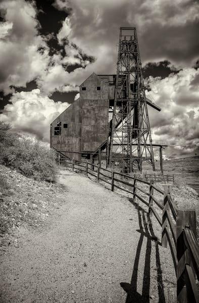 Black & White Photo of Abandoned Gold Mine Victor Colorado
