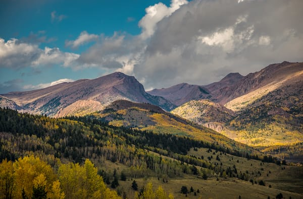 Dramatic Clouds Blue Skies, Fall Colors Colorado's Pike National Forest
