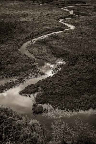 Black & White Photo of Sky Reflecting in Stream Gold Camp Road Pike National Forest Colorado