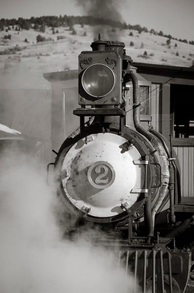 Cripple Creek & Victor Narrow Gauge Steam Locomotive Pulling Out of Train Station - B&W Photo