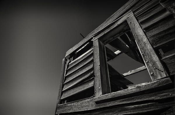 B&W Photo Weathered Wooden Window Abandoned Cedar House Cripple Creek Colorado