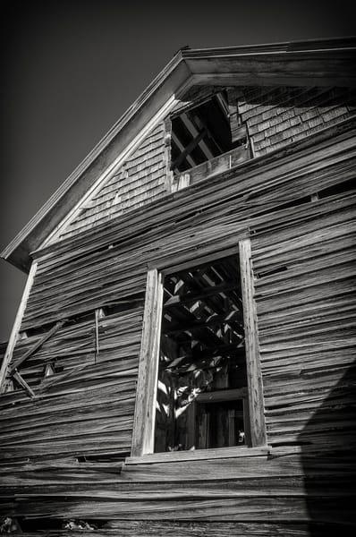 Black & White Sepia Photo Abandoned Cedar Homestead House  Cripple Creek Colorado