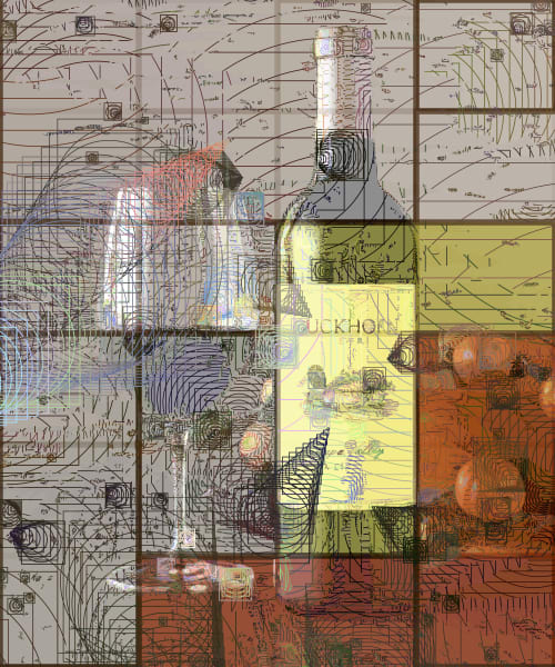 Duckhorn Wine art, pride of Napa Valley. Duckhorn Wine, Napa Valley, California, USA.  Prints, canvas, posters by Peter McClard at VectorArtLabs.com