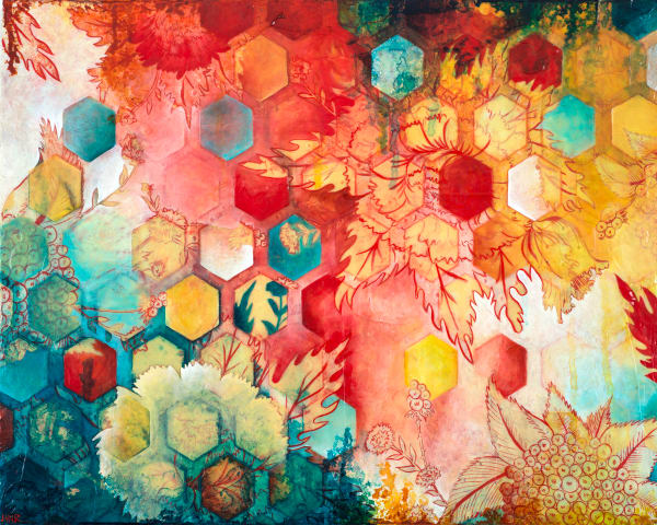 Hexagon Heat Wave, a fine art print by Heather Robinson