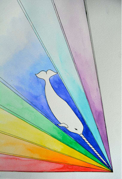 White Gnarwhal Diving Into A Rainbow Sea Art | Gnarwhal Designs