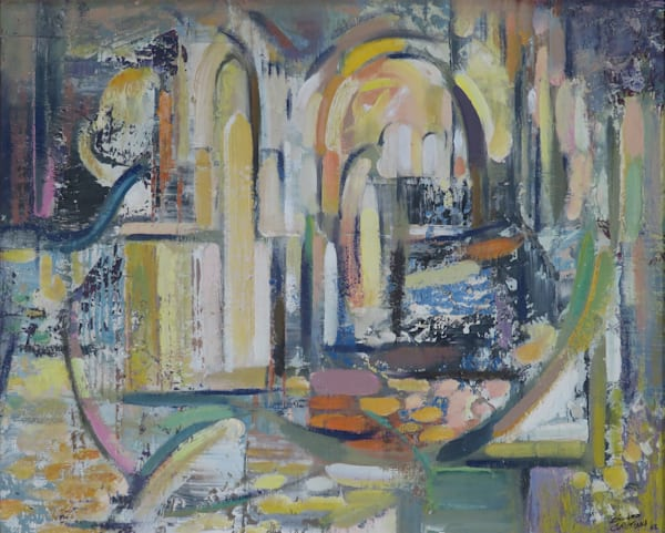 Curves in architecture art painting for sale