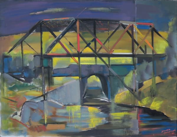 Bridge Original oil on canvas 1955