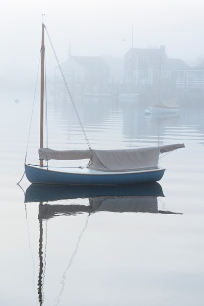 """Nantucket Harbor Sailboat in Fog"" Fine Art Nautical Boat Photography"