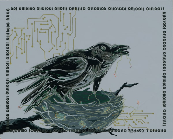 Overlapping ravens build an electronic nest.
