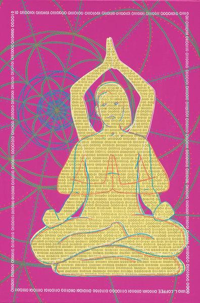 A meditating figure on a mandala background.