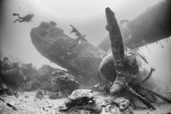 Catalina Plane Wreck & Diver, Solomon Islands