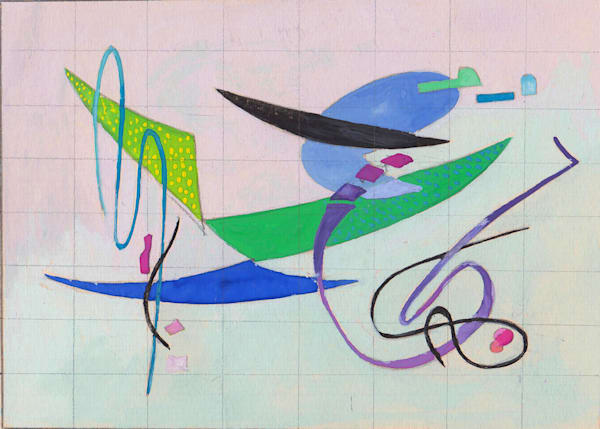 Flight 1951 gouache study painting with verso under mat