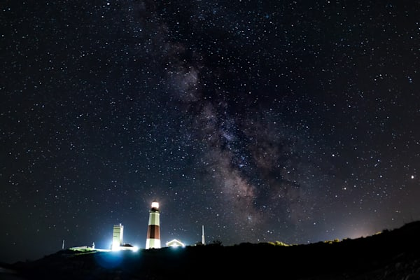 Milky Way in Montauk, NY with Lighthouse by Steven Archdeacon.