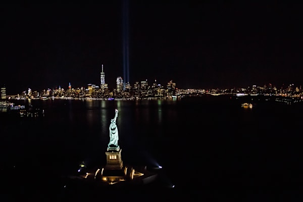 Fine Art AerialPhotographs--9/11 Tribute Lights BEST pictures you'll EVER see by Steven Archdeacon.