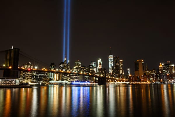 9/11 Tribute Lights from DUMBO (Down Under Manhattan Bridge Overpass) by Steven Archdeacon.