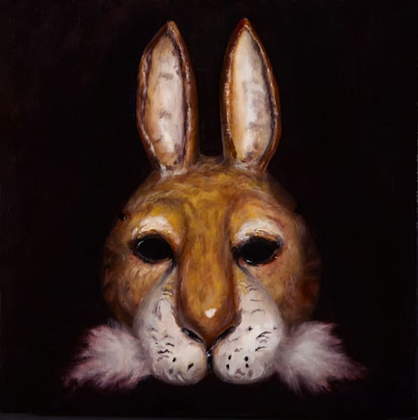 Hare Mask - wood print