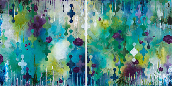 Seafoam Storm, an original art diptych painting by Heather Robinson