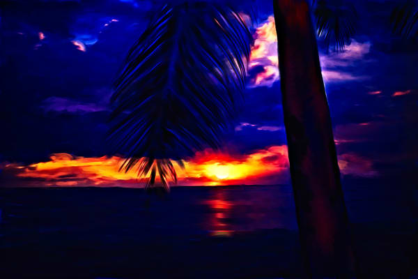 Sacred Light 10 – Painting of a night scene in Hawaii by Christina Stefani