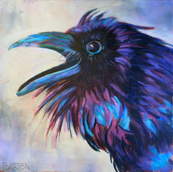 raven, purple, blue, screech