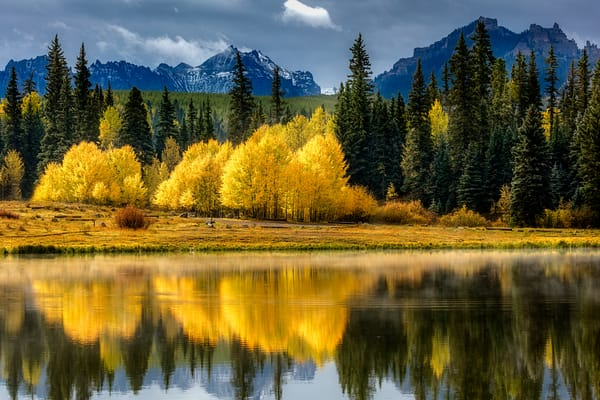 Aspen Reflection on Beaver Lake for sale as a fine art photograph by Mike Jensen