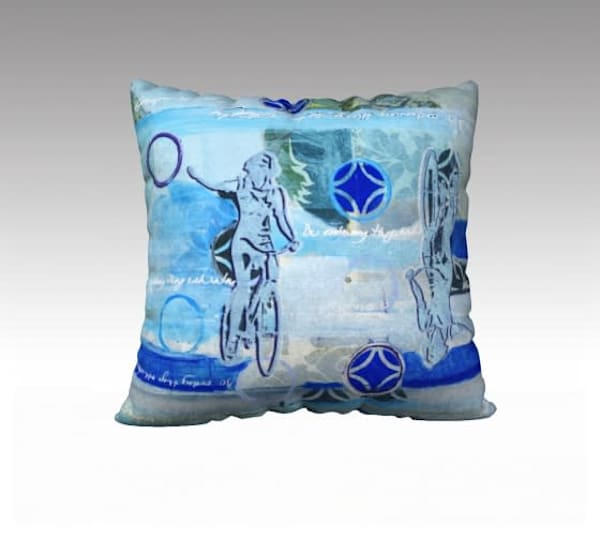 Pillow inspired by vintage art of bicycle girl for sale by Memory Art Girl