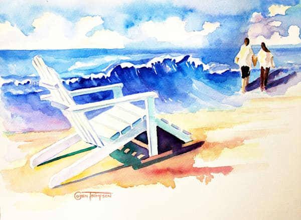 Watercolor of two people walking the beach with an Adirondack chair