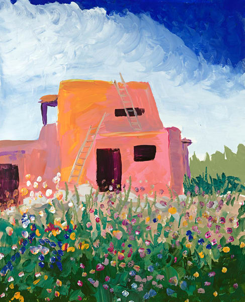 Pink Adobe print by Mary Anne Hill.