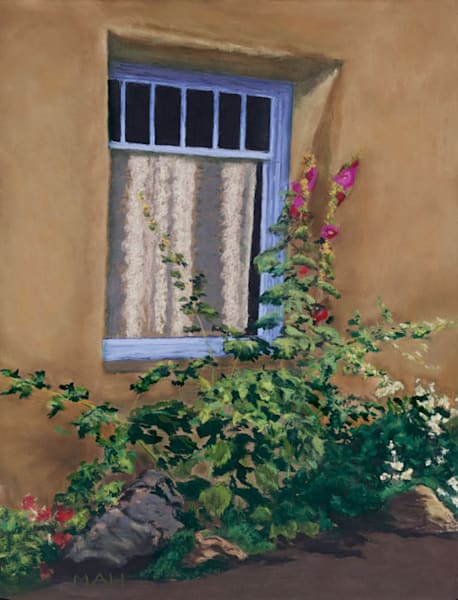 Taos hollyhocks print by Mary Anne HIll.