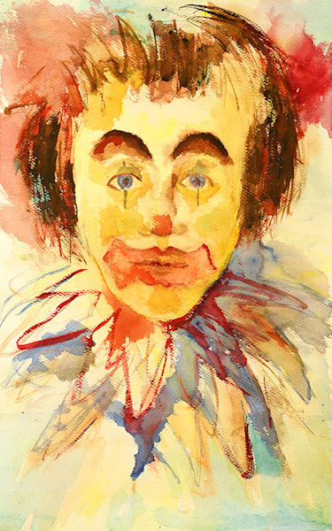 Clown print by Mary Anne Hill.
