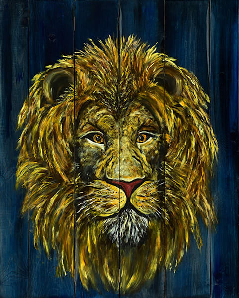 Lion on wood art by Cat A.