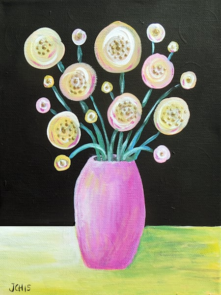 Flowers In A Pink Vase Art For Sale