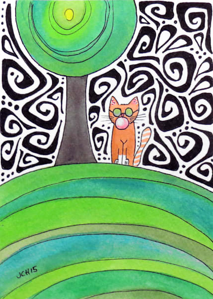 Groovy Bubble Cat Two Art For Sale