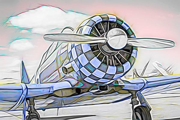 T-6/AT-6 Texan Trainer Abstract WW2 Military Aircraft fleblanc