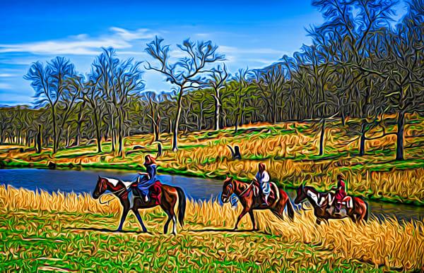 Art Photograph Three Rider Crossing the Stream fleblanc