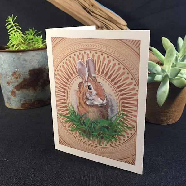 "Greeting Card of ""Down the Rabbit Hole"" By Steven Teller"