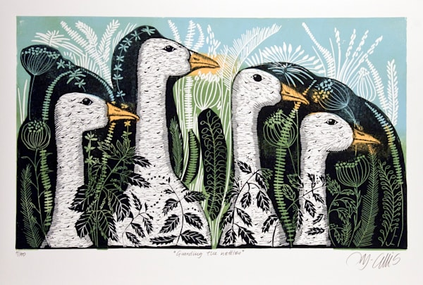 in this linocut the geese are the main characters, regal yet a bit silly, an original linocut by Mariann Johansen-Ellis, art, paintings