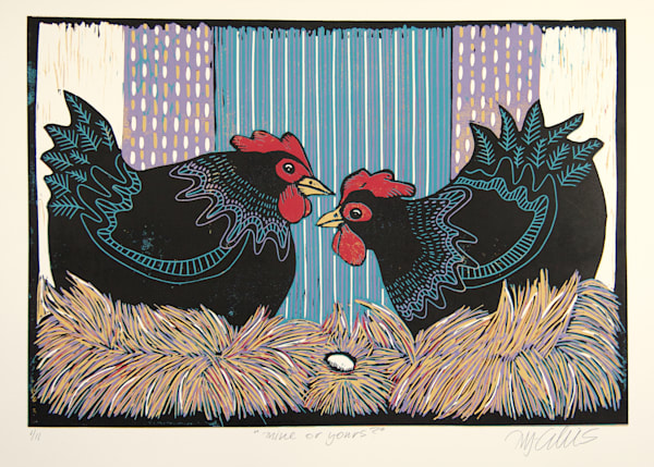 2 hens in a original linocut reduction by Mariann Johansen-Ellis. Printmaking, art, paintings