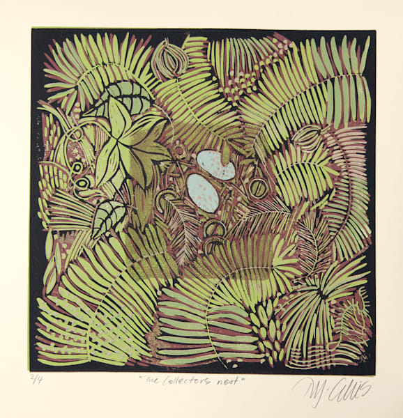 birds nest in linocut reduction by Mariann Johansen-Ellis, Lovely greenery and gold glints, art, paintings