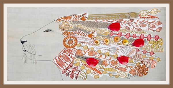 a proud lions head is fetaured in this linocut collage by printmaker Mariann Johansen-Ellis, arts, paintings, art, painting, fiber arts