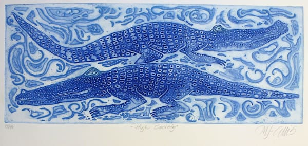 a relief copper plate etching by printmaker Mariann Johansen-Ellis , art with crocodiles, paintings