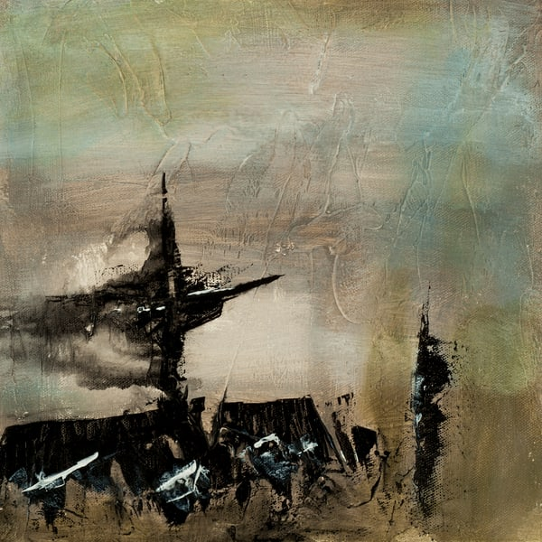Disintegrate contemporary abstract painting suggesting a shipwreck by Jana Kappeler.