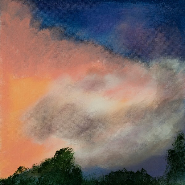 Delights of the Day painting by Jana Kappeler suggesting a sunset sky at the top of a treeline.
