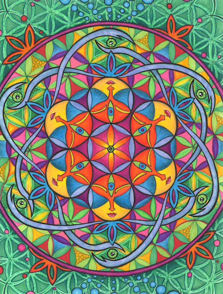 Unity, flower of life, sacred flower art