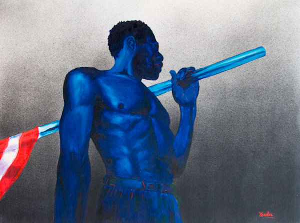 Blue Man with Flag