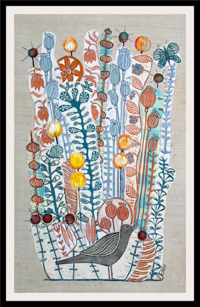 little blackbird collage in oranges and blues, handprinted fabrics from linocuts by Mariann Johansen-Ellis, art, paintings