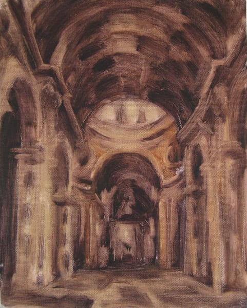 Monochromatic sacred architecture Painting of Saint Peter's Basilica Interior in the Vatican, Rome.