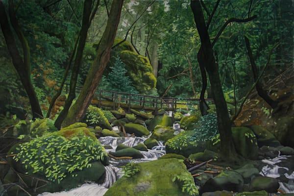 Cataract Bridge,watercolor, watercolor landscape, landscape, Mt. Tamalpais, California