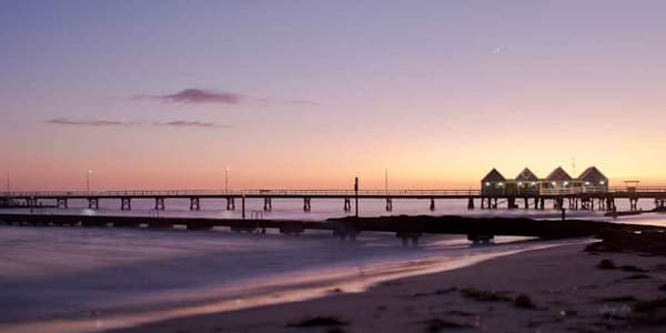 Sunrise photograph of Busselton Jetty by Ivy Ho for sale as Fine art